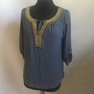 Papermoon grey beaded top blouse shirt coverup